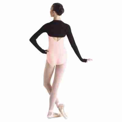Bloch dames Warme ballet Bolero M1105 met duimgaten zwart