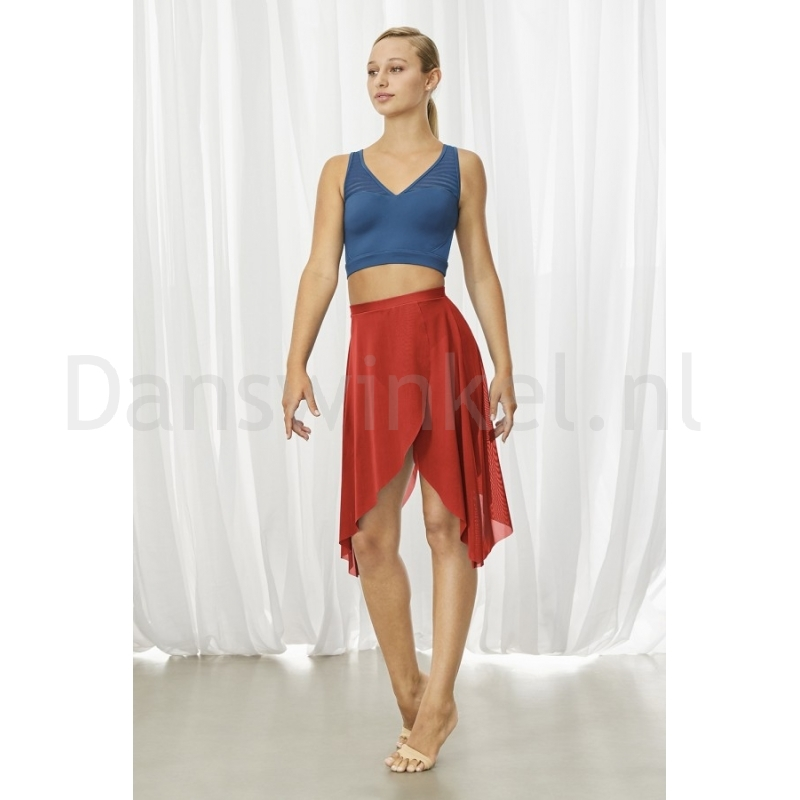 rode dames DansRok bloch hadlee R3531 stretch mesh