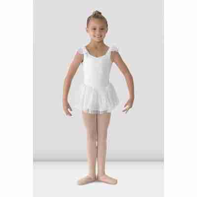 Bloch Meisjes Flutter Sleev Dress M1055 wit voorkant