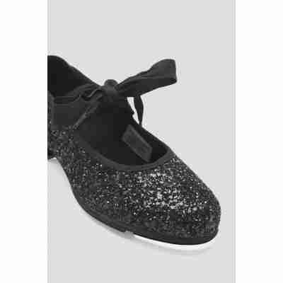 Tap dansschoenen voor Meisjes met strik S0351G bloch zwarte glitters