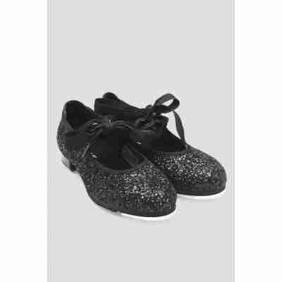 zwarte Bloch Glitter Tap dansschoenen Meisjes met strikjes S0351G