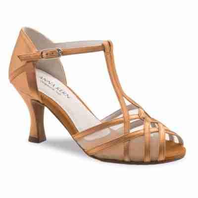 salsa latin dansschoen dames goud brons satijn hak 6 cm Anna Kern 640-60