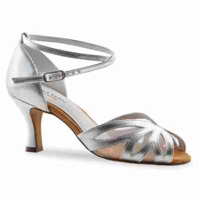 Anna Kern 790-60 Dames dansschoenen met enkelbandje van zilver metallic Leer en transparant gaas