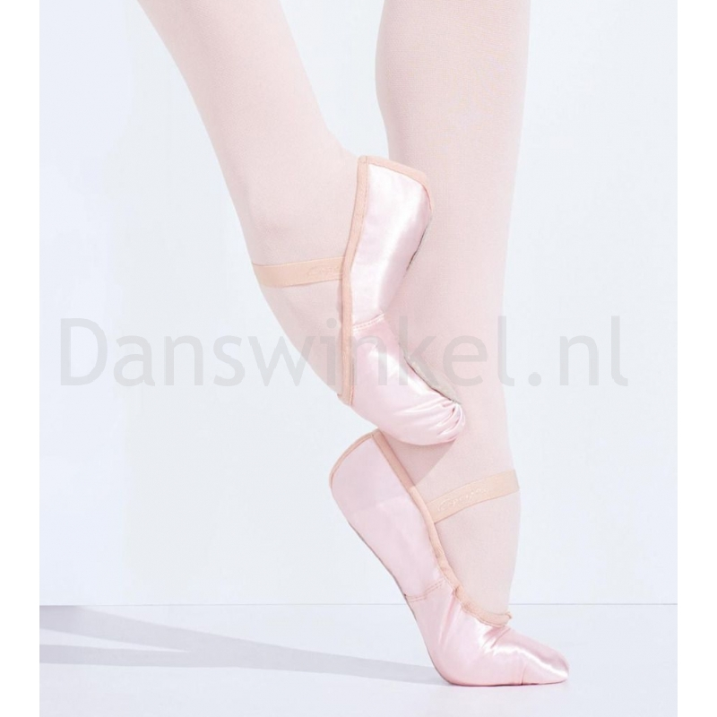 Capezio Satin Daisy U215 Satijnen Balletschoenen doorlopende suede zool