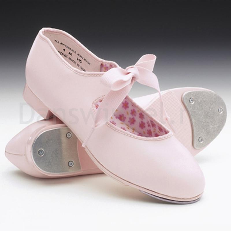 Capezio Tap Dansschoen PU voor Meisjes Jr Tyette met roze strikje U625C