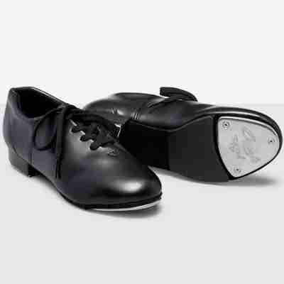 Capezio zwart tap dans schoen dames en heren Fluid CG17 met vetersluiting