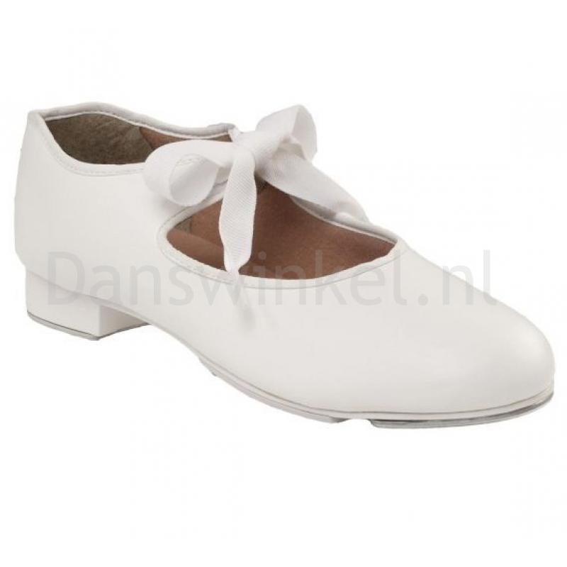 witte Capezio PU Junior Tyette Tap dansschoenen voor dames en meisjes met striksluiting
