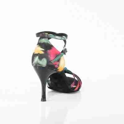 Dames Latin dansschoenen zwart satijn multicolor Lidmag 210