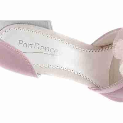satijnen dames schoenen voor bruiden Portdance PD855 met leren zool en roze versiering