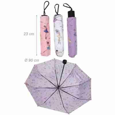 Alista ADB F900002 Opvouwbare paarse paraplu met ballerina print