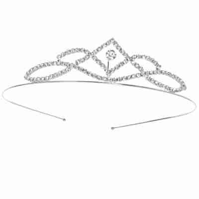Alista Metalen Tiara met Witte Strass Steentjes