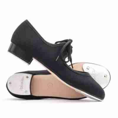 Katz zwarte Canvas Tap dansschoenen voor Meisjes met lage hak en striksluiting ZCHTap