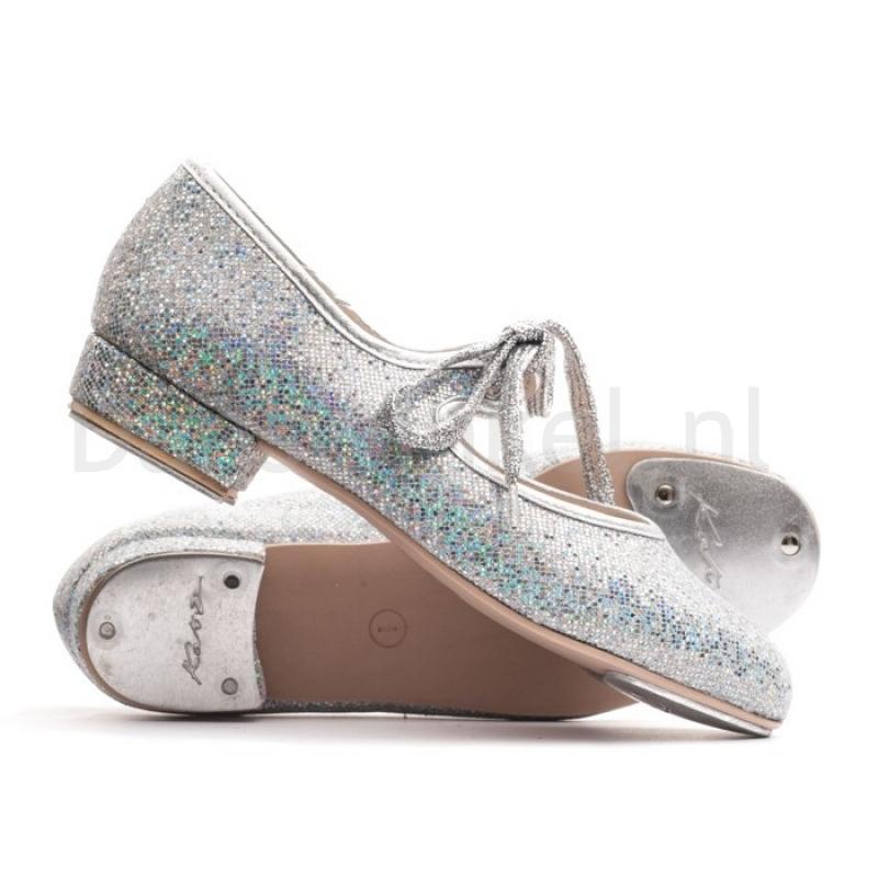 Katz Zilver Glitter N/H platen Tap Schoenen