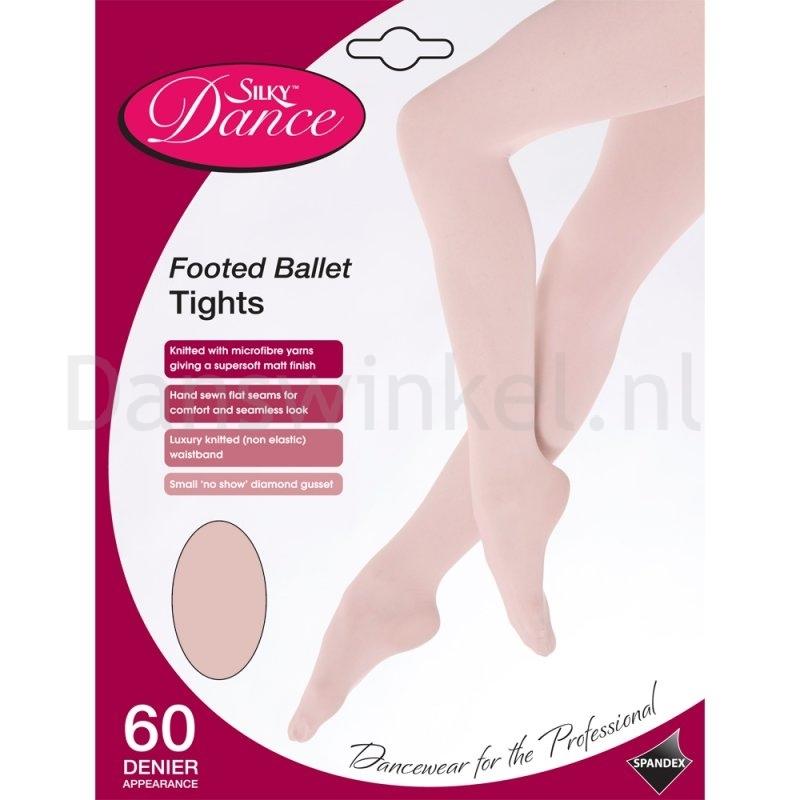 Silky Dance Balletpanty met voet Kinderen zalmroze