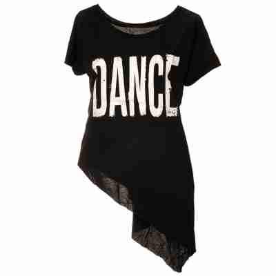 LikeG Asymmetrische Top DANCE met Korte Mouw en Boothals