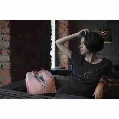 LikeG Zwart T-Shirt van Katoen en Viscose met Ballerina