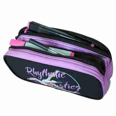 LikeG Dubbele Etui met Afbeelding Ritmische Gymnastiek Zwart met Roze