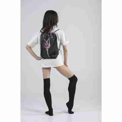 LikeG Zwarte Polyester Rugtas met Afbeelding Ritmische Gymnastiek