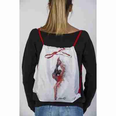 LikeG Witte Polyester Rugtas met Print van Ritmische Gymnaste