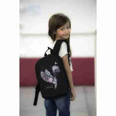 LikeG Zwarte Rugzak voor Kinderen met Afbeelding Spitzen