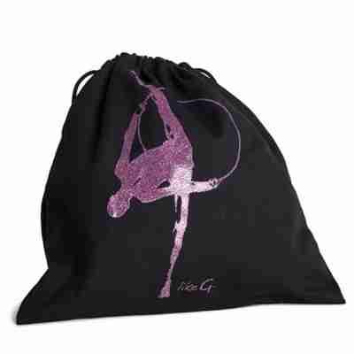 LikeG Zwarte Schoenentas met Afbeelding Ritmische Gymnastiek