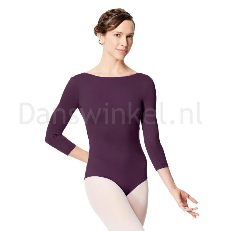 Lulli Dames Balletpak met 3/4 Mouwen Nanette aubergine