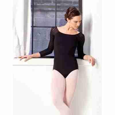 Lulli LUF529 Milena dames balletpakje zwart driekwart mouw