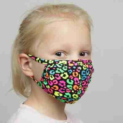 Papillon PK7076 Neon panterprint mondkapje voor kinderen herbruikbaar