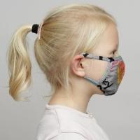 Papillon grijs mondkapje met graffiti print voor kinderen