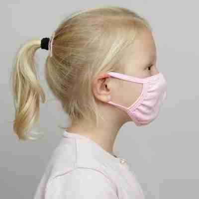 Papillon katoenen mondkapje voor meisjes roze PK7076