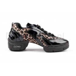 Portdance PD923 Sneaker Leopard Satin & Black Patent