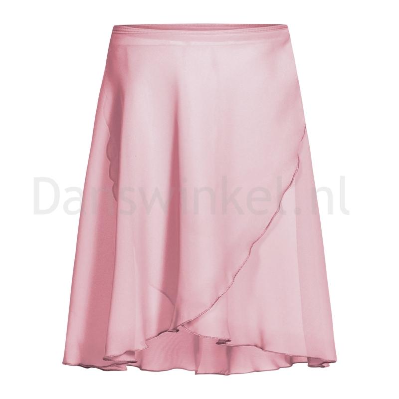 Rumpf chiffon wikkelrok roze overslag