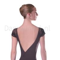 Zwart balletpak dames met kapmouwtjes Sansha rug
