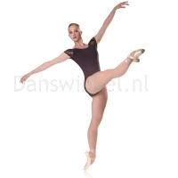 Zwart balletpak dames met kapmouwtjes Sansha