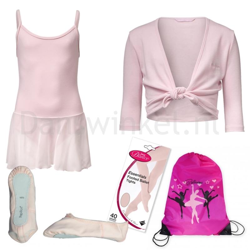 Alista Balletkleding Set 7 | Balletpakje + Vestje + Canvas Balletschoenen + Panty + Rugzakje