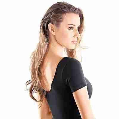 SoDanca dames balletpakje zwart korte mouwen van katoen RDE8002