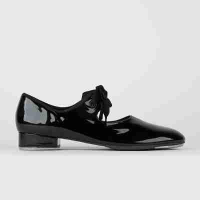 zwarte So Danca TA36 Dames Tap dansschoenen met Striksluiting en lage hak