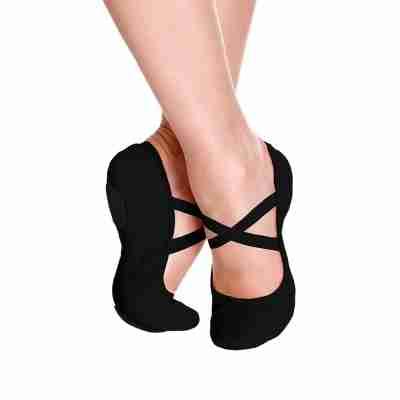 Zwarte Balletschoenen van Leer met splitzool So Danca SD60S kinder maten