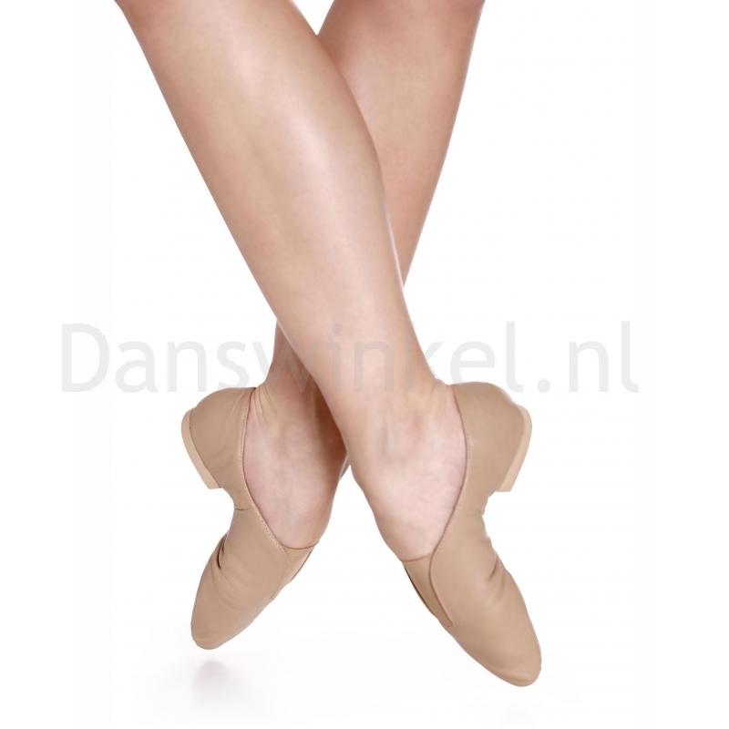 Jazzschoenen in zwart en karamel - Elastieken band - Splitzool van rubber - So Danca JZ77L