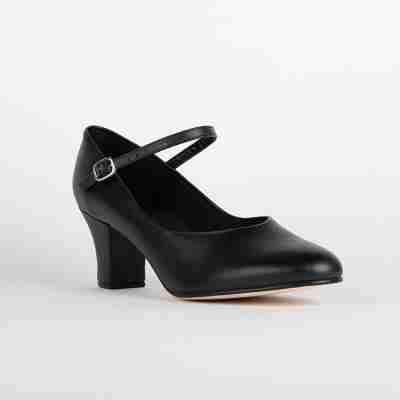 Zwarte character dansschoenen So Danca CH52 met Lederen zool