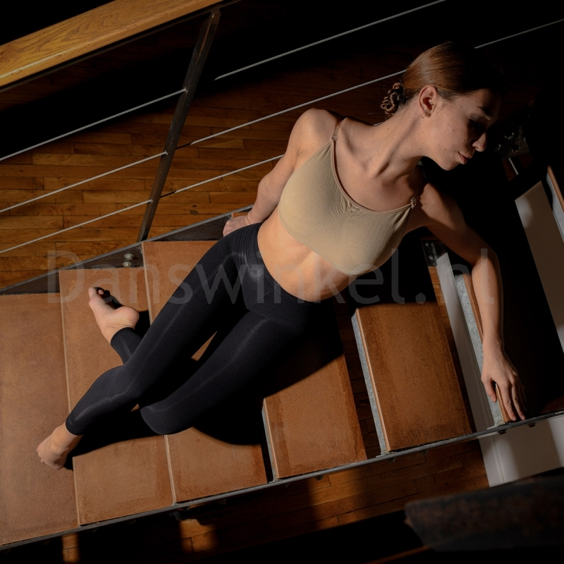 Dansez-Vous P102 Voetloze Balletpanty zwart naadloze tailleband