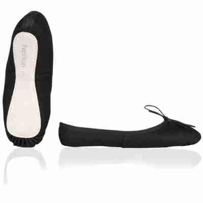 Papillon PK1010 Kinder Balletschoenen van canvas met lederen zool zwart