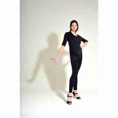 Studio Moscow SM6012 Zwarte Bamboe gedrapeerd DansTop