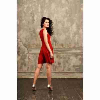 StudioMoscow Rode dansjurk lengte tot halverwege bovenbeen