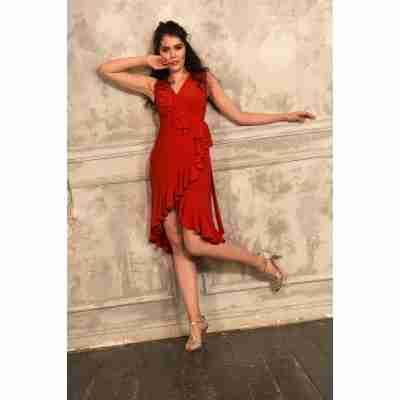 Studio Moscow SM8040R Rode Wikkeljurk voor tango en salsa
