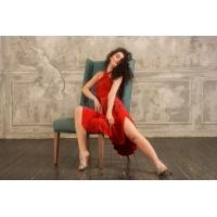 Studio Moscow SM8050 Rode Jurk met Halternek hoge kwaliteit polyester