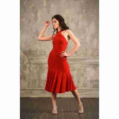 Studio Moscow SM8050 Rode Jurk met Halternek voor Tango, Latin en Salsa