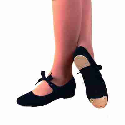 Capezio Jr. Tyette U825 - zwarte Canvas Tap Dansschoen voor Meisjes & Dames