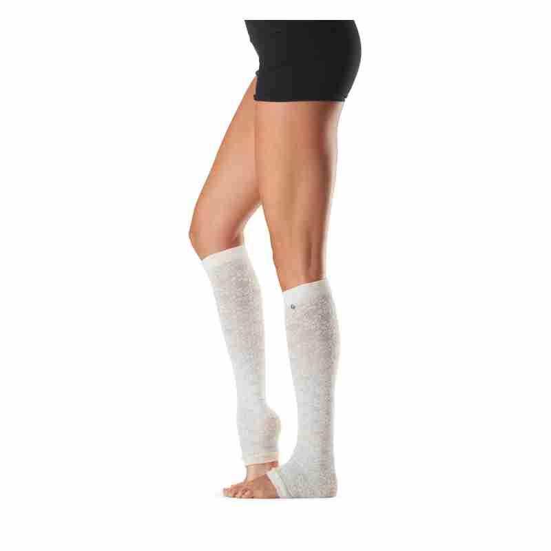 ToeSox Jojo Feliz witte Beenwarmers zonder hielgat voor Pilates en Yoga 60 cm