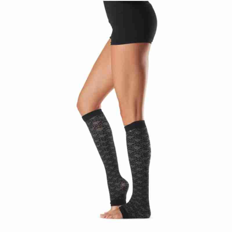 ToeSox Jojo Night zwarte Beenwarmers zonder hielgat voor Pilates en Yoga 60 cm